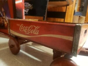 VINTAGE COKE COCA COLA WOOD CRATE PULL WAGON CART 18 X 12