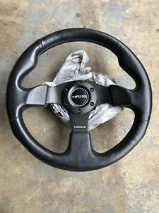 Nrg Steering Wheel Black Leather W Blue Stitch Horn Button