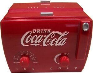 Lot of 2 COCA~COLA Toy Cooler Radios - 1 Is Die Cast other is Plastic In Boxes