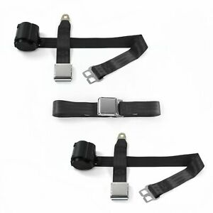 Ford 1952 1954 Airplane 2pt Black Retractable Bench Seat Belt Kit 3 Belts