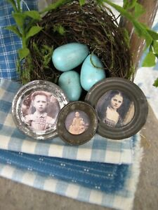3 Tiny Antique Tin Doll Plates With Old Photo Prints Free Shipping