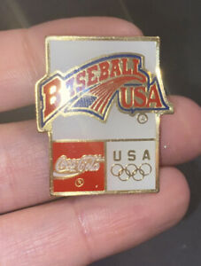 Baseball USA Coca Cola Olympics lapel pin
