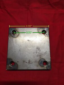 2 4 x 4 X 1 8 Thick Stainless Steel Mounting Plate 3 Centers Heavy Duty