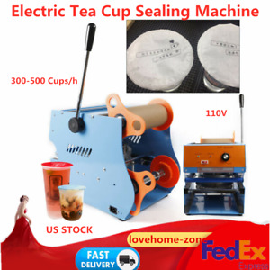 Electric Bubble Tea Coffee Cup Sealing Machine Fruit Juice Cup Sealer Free Ship