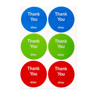 3 color Round Ebay branded Thank You Sticker Multi pack 3 X 3