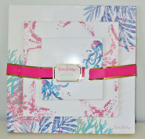 Lilly Pulitzer Notepad 3pc Set Seas The Day Print Stationery Note Pads New