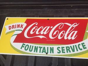 VINTAGE COCA COLA FOUNTAIN SERVICE PORCELAIN DRINK SIGN COLLECTABLE 1950s Mint