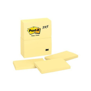 Post it Notes 655 3 In X 5 In 76 Mm X 127 Mm Canary Yellow