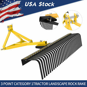3 Point Landscape Rock Rake Category 1 Tractor Attachment Soil Gravel Lawn