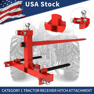 Hay Bale Spear Trailer Hitch Receiver Cat 1 Tractor Drawbar W Gooseneck Ball
