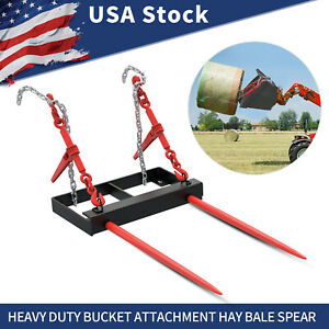 Universal Hay Bale Spear Front Loader Tractor Bucket Attachment Mover Spike
