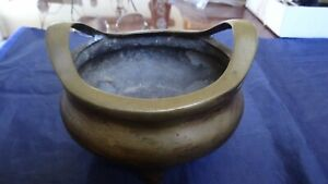 Very Fine Old Chinese Bronze Two Handled Incense Burner Signed