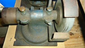 Vintage Industrial Hit miss Gas Engine Belt Pulley Arbor Grinder Emery Wheel