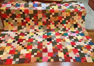 Vintage Patchwork Quilt Top 72 X 84 Silky Synthetic Fabric