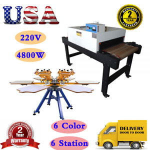 4800w 220v Conveyor Tunnel Dryer With 6 Color 6 Station Screen Printing Machine