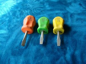 Lot Of 3 Snap On Stubby Screwdrivers Sdd1 Flat Slotted Hard Handle Usa