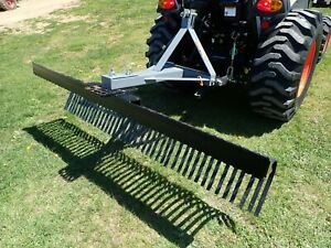 New Titan 5107 84 Landscape Rake For Compact Tractors 3 Pt Hook Up Adj Angle