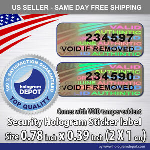 100 Security Hologram Stickers Numbered Anti counterfeit Label Seals Void