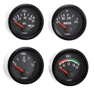 4 Gauge Set With Senders Vdo Genuine Gauges Oil temp fuel volt 12v Spin loc