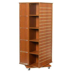 Revolving Cube Slatwall Display In Cherry 23 5 W X 23 5 D X 63 H Inches