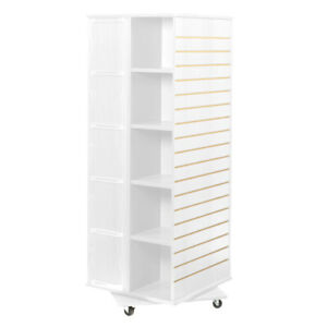 Revolving Cube Slatwall Display In White 23 5 W X 23 5 D X 63 H Inches