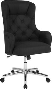 Chambord Home And Office Upholstered High Back Chair In Black Fabric