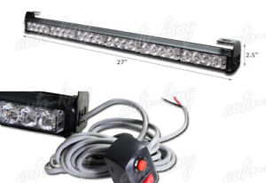 27 Led White Traffic Advisor Advising Emergency Warning Flash Strobe Light Bar