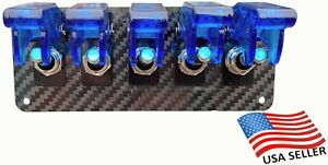 5 Hole Real Carbon Fiber Panel W 5 Blue Led Toggle Switches And Blue Covers