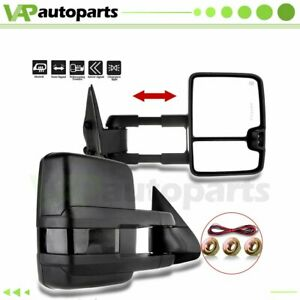 Pair For 99 02 Silverado Sierra Power Led Signal Tow Side View Mirrors