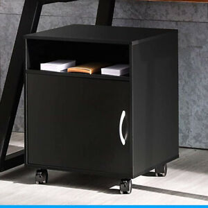 Portable Home Office File Cabinet Mobile Printer Stand Storage Shelf With Door
