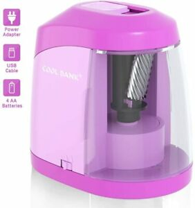 Electric Pencil Sharpener Heavy Duty Helical Blade To Fast Sharpen Pink