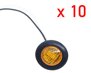 10xmini Amber 12v 3 4 Round Led Marker Taile Light Clearance W Bullet Terminal