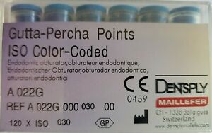 Dentsply Gutta Percha Points Size 30 Iso Color Coded Box Of 120