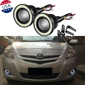2x 2 5 Car Cob Led Fog Light Projector Angel Eye Halo Ring Drl Driving Bulbs