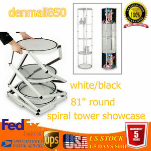Round Aluminum Spiral Tower 81 Counter Display Case Five layer Led 15w Foldable