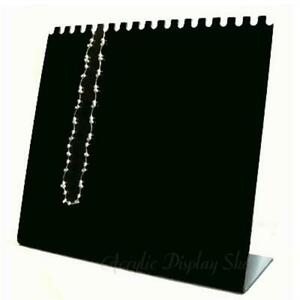 Acrylic Horizontal Necklace Display Easel Stand Black