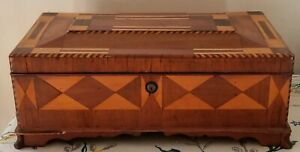 Vintage Inlay Marquetry Parquetry Jewelry Sewing Stash Box With 9 Compartments