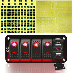5 Gang Toggle Rocker Switch Panel Dual Usb For Car Boat Marine Rv Truck Red Led