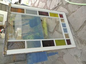 15 Pane Window Stained Glass Vintage Wood Frame Arts Crafts 39 By 28