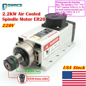 in Usa 2 2kw 220v Air Cooled Spindle Motor Er20 400hz For Cnc Engraving Machine
