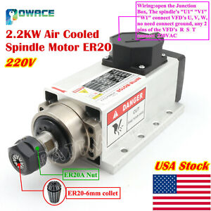 In Usa2 2kw 220v Air Cooled Spindle Motor Er20 400hz For Cnc Engraving Machine