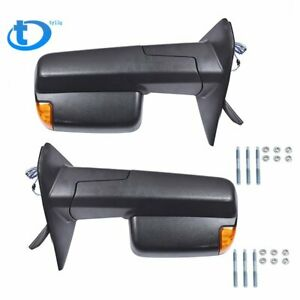 Towing Mirrors Power Heated Arrow Light For 02 08 Dodge Ram 1500 03 09 2500 3500