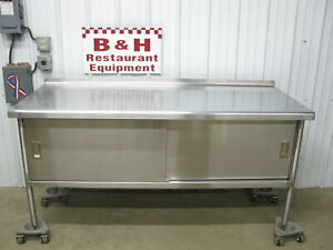 6 X 30 Heavy Duty Stainless Steel Two Dr 2 Door Kitchen Cabinet Work Table 72