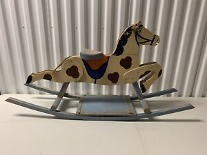 Colorful Antique American Folk Art Rocking Horse In Blue Paint Base