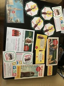 Vintage Lot Of Coca Cola Ink Blotters Coasters & Coupons