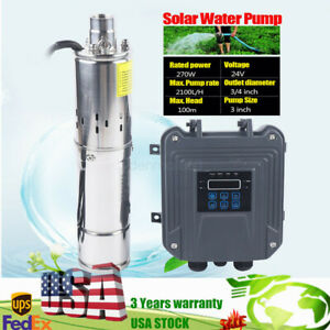 3 Solar Water Pump 2100l h Submersible Deep Pump 270w 24v W Mppt Controller Us