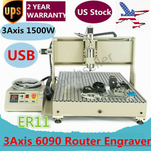 Usb 6090 3 Axis Cnc Router Engraver Metal Wood Carving Drilling Machine 1500w Us