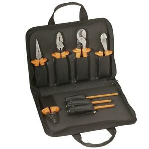 Electrical Tool Set Insulated Black Nylon Carrying Case Zipper Closure 8 piece