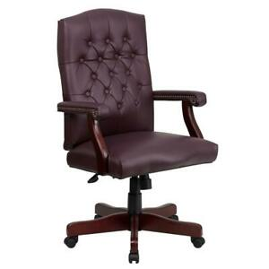 Office desk Chair Modern Wood Pneumatic Seat Dual Wheel Casters Faux Leather Red