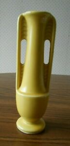 Vintage Art Deco Yellow Ceramic Vase 8 Tall Footed Usa 1178